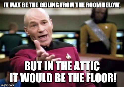 Picard Wtf Meme | IT MAY BE THE CEILING FROM THE ROOM BELOW, BUT IN THE ATTIC IT WOULD BE THE FLOOR! | image tagged in memes,picard wtf | made w/ Imgflip meme maker