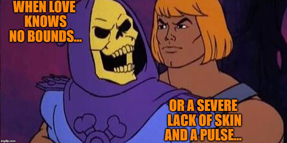 Love in the 80's...  | WHEN LOVE KNOWS NO BOUNDS... OR A SEVERE LACK OF SKIN AND A PULSE... | image tagged in he-man,bromance | made w/ Imgflip meme maker