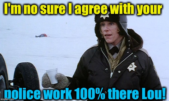 I'm no sure I agree with your police work 100% there Lou! | made w/ Imgflip meme maker