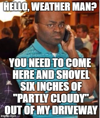 "angry man on phone |  HELLO, WEATHER MAN? YOU NEED TO COME HERE AND SHOVEL SIX INCHES OF ""PARTLY CLOUDY"" OUT OF MY DRIVEWAY 
