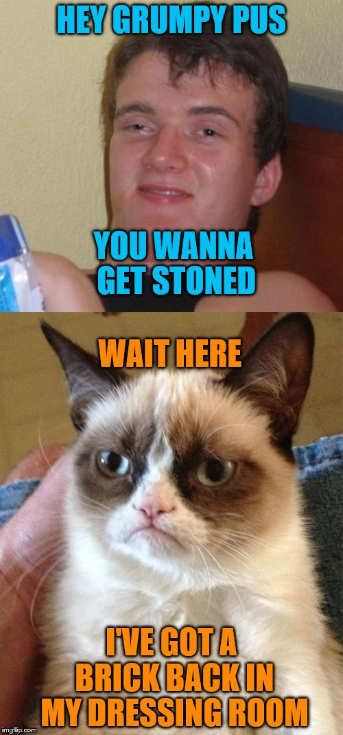 More from behind the scenes at imgflip | HEY GRUMPY PUS I'VE GOT A BRICK BACK IN MY DRESSING ROOM WAIT HERE YOU WANNA GET STONED | image tagged in 10 guy,grumpy cat | made w/ Imgflip meme maker