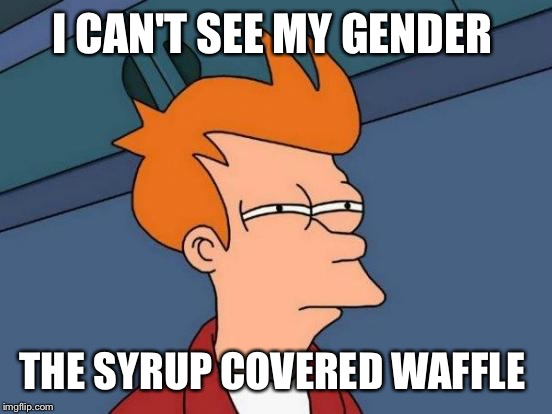 Futurama Fry Meme | I CAN'T SEE MY GENDER THE SYRUP COVERED WAFFLE | image tagged in memes,futurama fry | made w/ Imgflip meme maker