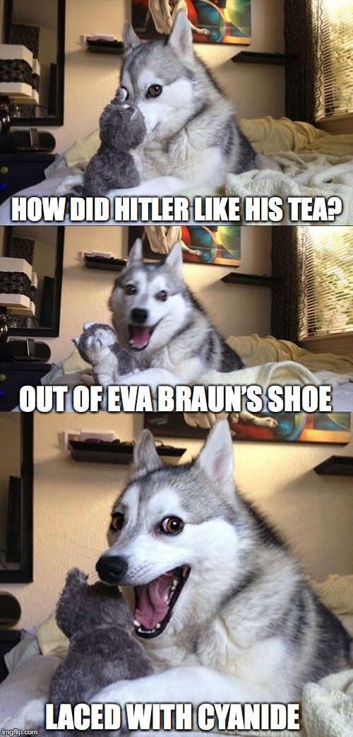 Bad Pun Dog Meme | HOW DID HITLER LIKE HIS TEA? LACED WITH CYANIDE OUT OF EVA BRAUN'S SHOE | image tagged in memes,bad pun dog | made w/ Imgflip meme maker