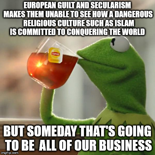 But Thats None Of My Business Meme | EUROPEAN GUILT AND SECULARISM MAKES THEM UNABLE TO SEE HOW A DANGEROUS  RELIGIOUS CULTURE SUCH AS ISLAM IS COMMITTED TO CONQUERING THE WORLD | image tagged in memes,but thats none of my business,kermit the frog | made w/ Imgflip meme maker