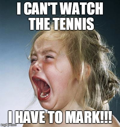 little girl screaming | I CAN'T WATCH THE TENNIS I HAVE TO MARK!!! | image tagged in little girl screaming | made w/ Imgflip meme maker
