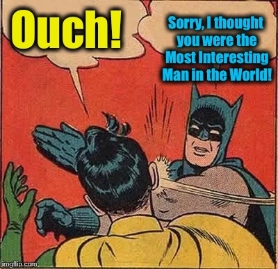 Batman Slapping Robin Meme | Ouch! Sorry, I thought you were the Most Interesting Man in the World! | image tagged in memes,batman slapping robin | made w/ Imgflip meme maker