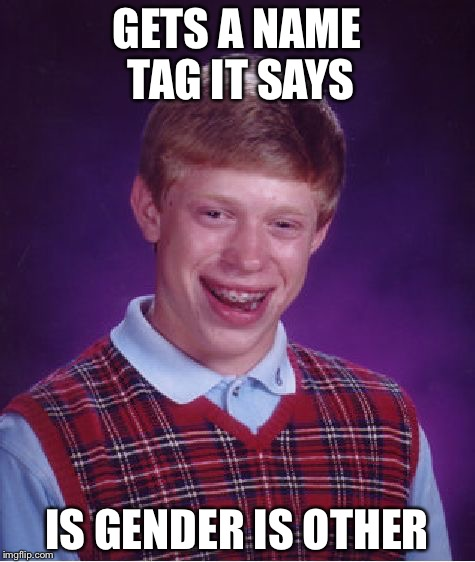 GETS A NAME TAG IT SAYS IS GENDER IS OTHER | image tagged in memes,bad luck brian | made w/ Imgflip meme maker