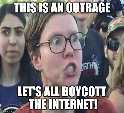 THIS IS AN OUTRAGE LET'S ALL BOYCOTT THE INTERNET! | made w/ Imgflip meme maker