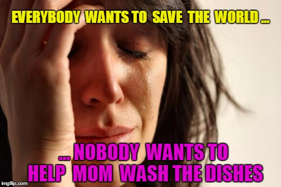 First World Problems | EVERYBODY  WANTS TO  SAVE  THE  WORLD ... ... NOBODY  WANTS TO HELP  MOM  WASH THE DISHES | image tagged in memes,first world problems | made w/ Imgflip meme maker
