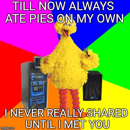 Wrong lyrics karaoke big bird | TILL NOW ALWAYS ATE PIES ON MY OWN I NEVER REALLY SHARED UNTIL I MET YOU | image tagged in wrong lyrics karaoke big bird | made w/ Imgflip meme maker