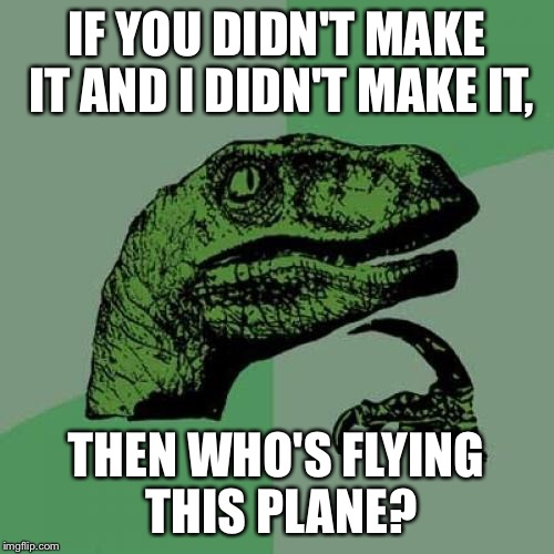Stop reposting  | IF YOU DIDN'T MAKE IT AND I DIDN'T MAKE IT, THEN WHO'S FLYING THIS PLANE? | image tagged in memes,philosoraptor | made w/ Imgflip meme maker