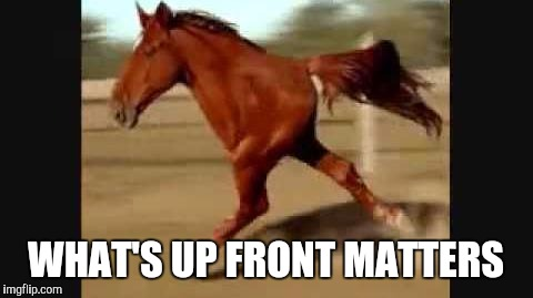 Memes, Horse, Funny | WHAT'S UP FRONT MATTERS | image tagged in memes,horse,funny | made w/ Imgflip meme maker