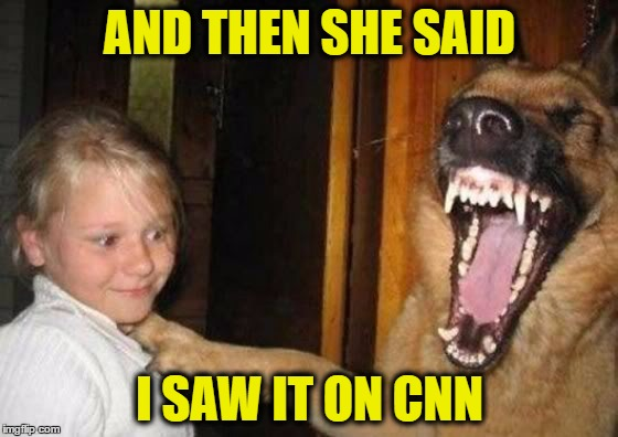 But but but... I saw it on CNN! | AND THEN SHE SAID I SAW IT ON CNN | image tagged in cnn,dog | made w/ Imgflip meme maker