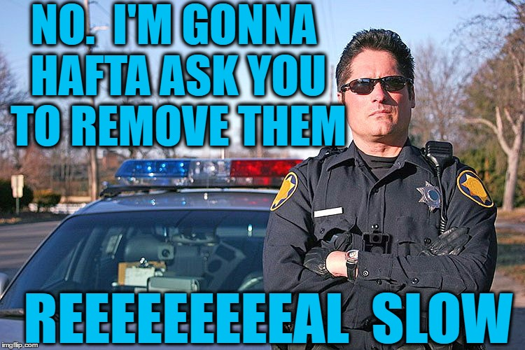 police | NO.  I'M GONNA HAFTA ASK YOU TO REMOVE THEM REEEEEEEEEAL  SLOW | image tagged in police | made w/ Imgflip meme maker