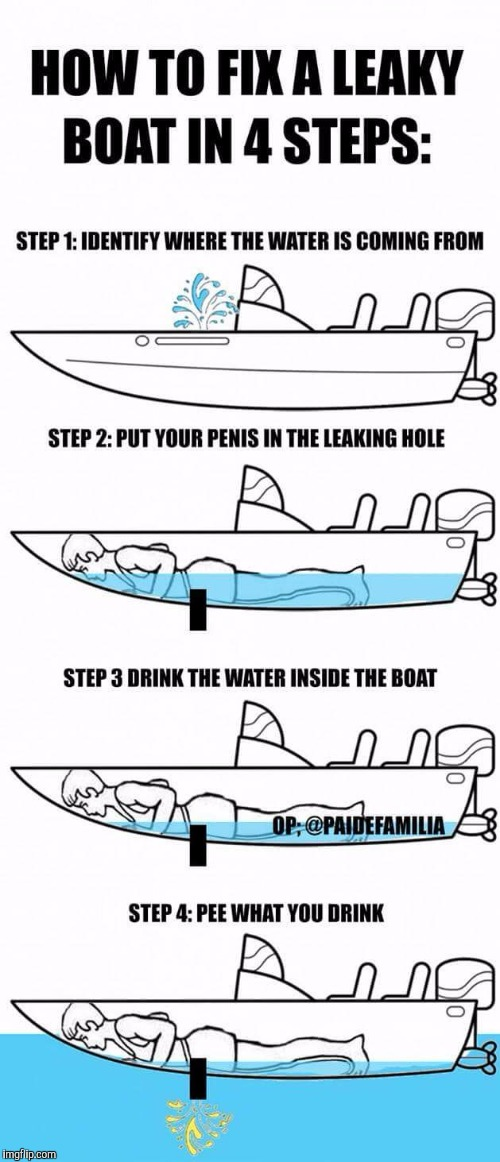 Watch out Flexiseal.  | image tagged in funny meme,boat,repair,pee | made w/ Imgflip meme maker