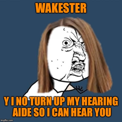 Y u no girl | WAKESTER Y I NO TURN UP MY HEARING AIDE SO I CAN HEAR YOU | image tagged in y u no girl | made w/ Imgflip meme maker