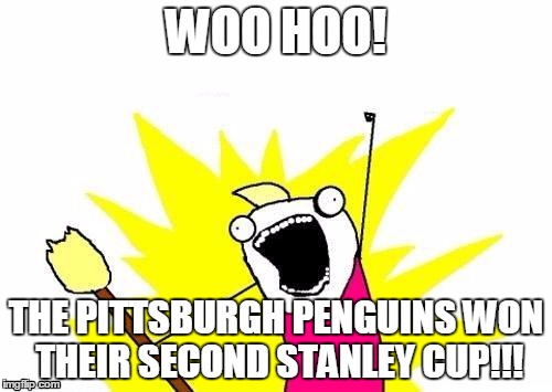 X All The Y Meme | WOO HOO! THE PITTSBURGH PENGUINS WON THEIR SECOND STANLEY CUP!!! | image tagged in memes,x all the y | made w/ Imgflip meme maker