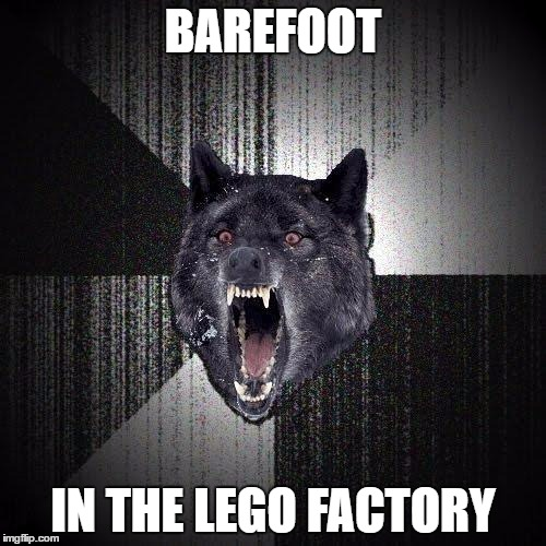 Barefoot Lego Factory | BAREFOOT IN THE LEGO FACTORY | image tagged in memes,insanity wolf | made w/ Imgflip meme maker