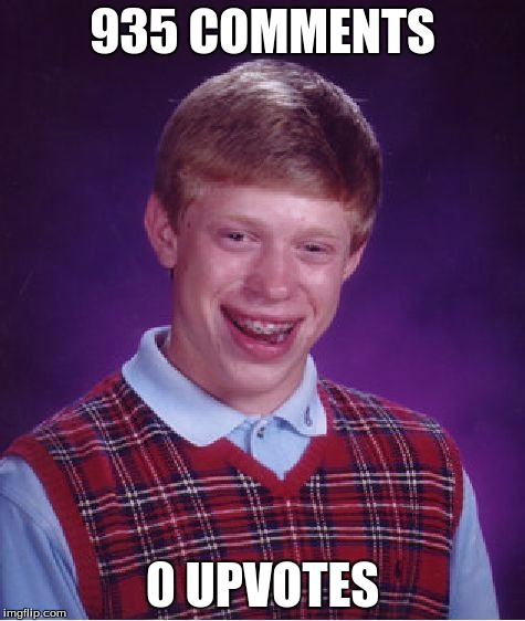 Bad Luck Brian Meme | 935 COMMENTS 0 UPVOTES | image tagged in memes,bad luck brian | made w/ Imgflip meme maker