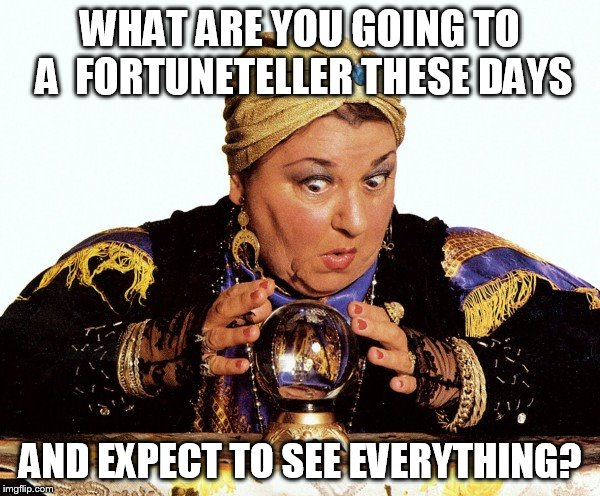 WHAT ARE YOU GOING TO A  FORTUNETELLER THESE DAYS AND EXPECT TO SEE EVERYTHING? | made w/ Imgflip meme maker
