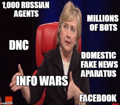 1,000 RUSSIAN AGENTS FACEBOOK MILLIONS OF BOTS INFO WARS DNC DOMESTIC FAKE NEWS APARATUS | made w/ Imgflip meme maker