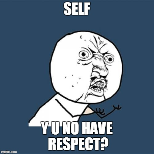 Y U No Meme | SELF Y U NO HAVE RESPECT? | image tagged in memes,y u no | made w/ Imgflip meme maker