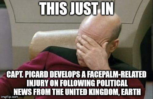 Captain Picard Facepalm Meme | THIS JUST IN CAPT. PICARD DEVELOPS A FACEPALM-RELATED INJURY ON FOLLOWING POLITICAL NEWS FROM THE UNITED KINGDOM, EARTH | image tagged in memes,captain picard facepalm | made w/ Imgflip meme maker