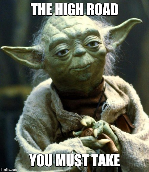 Star Wars Yoda Meme | THE HIGH ROAD YOU MUST TAKE | image tagged in memes,star wars yoda | made w/ Imgflip meme maker