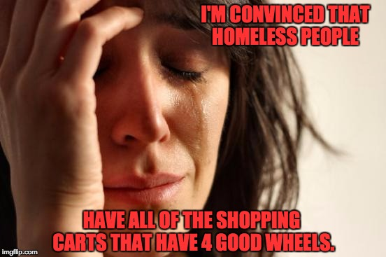 First World Problems Meme | I'M CONVINCED THAT HOMELESS PEOPLE HAVE ALL OF THE SHOPPING CARTS THAT HAVE 4 GOOD WHEELS. | image tagged in memes,first world problems | made w/ Imgflip meme maker