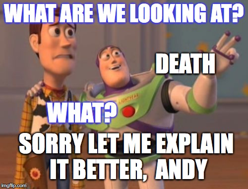 X, X Everywhere Meme | WHAT ARE WE LOOKING AT? DEATH SORRY LET ME EXPLAIN IT BETTER,  ANDY WHAT? | image tagged in memes,x x everywhere | made w/ Imgflip meme maker