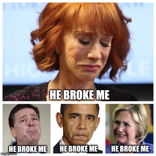 There wasn't enough room for Rosie! | HE BROKE ME HE BROKE ME HE BROKE ME HE BROKE ME | image tagged in he broke me,kathy griffin,comey,obama,hillary,trump | made w/ Imgflip meme maker