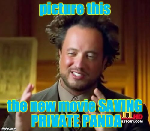 Ancient Aliens Meme | picture this the new movie SAVING PRIVATE PANDA | image tagged in memes,ancient aliens | made w/ Imgflip meme maker