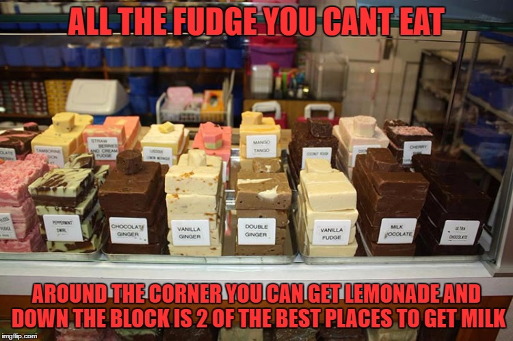 ALL THE FUDGE YOU CANT EAT AROUND THE CORNER YOU CAN GET LEMONADE AND DOWN THE BLOCK IS 2 OF THE BEST PLACES TO GET MILK | made w/ Imgflip meme maker