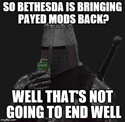 Bethesda Is bringing payed mods back? | SO BETHESDA IS BRINGING PAYED MODS BACK? WELL THAT'S NOT GOING TO END WELL | image tagged in bethesda,payed mods,video games,e3,internet | made w/ Imgflip meme maker