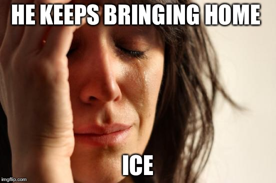 First World Problems Meme | HE KEEPS BRINGING HOME ICE | image tagged in memes,first world problems | made w/ Imgflip meme maker