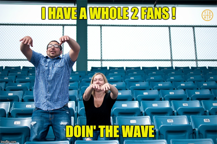 One man wave | I HAVE A WHOLE 2 FANS ! DOIN' THE WAVE | image tagged in one man wave | made w/ Imgflip meme maker