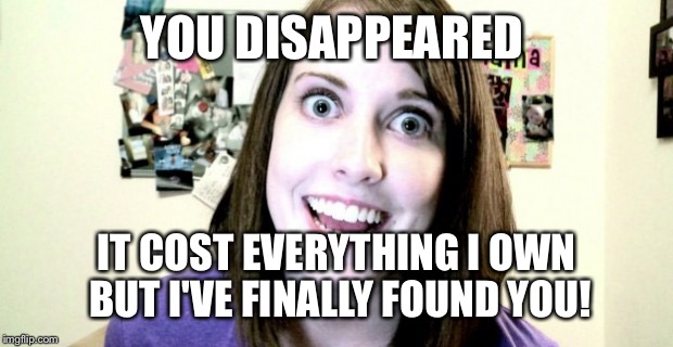 YOU DISAPPEARED IT COST EVERYTHING I OWN BUT I'VE FINALLY FOUND YOU! | made w/ Imgflip meme maker