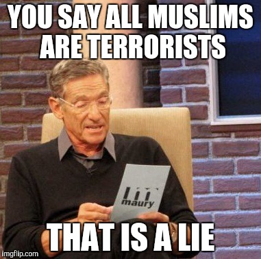 Maury Lie Detector Meme | YOU SAY ALL MUSLIMS ARE TERRORISTS THAT IS A LIE | image tagged in memes,maury lie detector | made w/ Imgflip meme maker