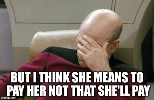 Captain Picard Facepalm Meme | BUT I THINK SHE MEANS TO PAY HER NOT THAT SHE'LL PAY | image tagged in memes,captain picard facepalm | made w/ Imgflip meme maker
