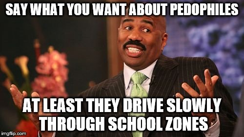 no matter the perv, always conser the positives | SAY WHAT YOU WANT ABOUT PEDOPHILES AT LEAST THEY DRIVE SLOWLY THROUGH SCHOOL ZONES | image tagged in memes,steve harvey,pedophile,bad taste,school | made w/ Imgflip meme maker