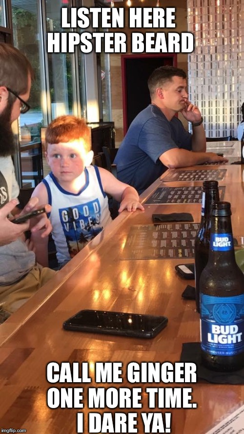 Ginger kid at the bar | LISTEN HERE HIPSTER BEARD CALL ME GINGER ONE MORE TIME.  I DARE YA! | image tagged in hipster,beard,ginger,bar | made w/ Imgflip meme maker