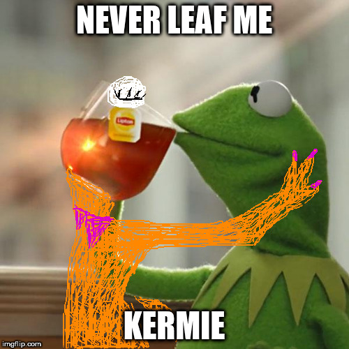 liquid love | NEVER LEAF ME KERMIE | image tagged in memes,but thats none of my business,kermit the frog | made w/ Imgflip meme maker
