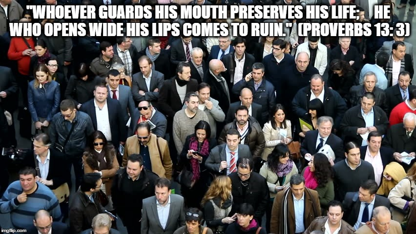 """""""WHOEVER GUARDS HIS MOUTH PRESERVES HIS LIFE;     HE WHO OPENS WIDE HIS LIPS COMES TO RUIN.""""  (PROVERBS 13: 3) 