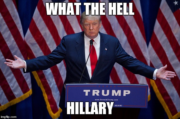 Donald Trump | WHAT THE HELL HILLARY | image tagged in donald trump | made w/ Imgflip meme maker