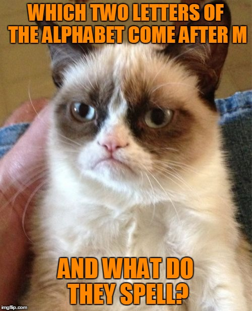 Grumpy Cat Meme | WHICH TWO LETTERS OF THE ALPHABET COME AFTER M AND WHAT DO THEY SPELL? | image tagged in memes,grumpy cat | made w/ Imgflip meme maker