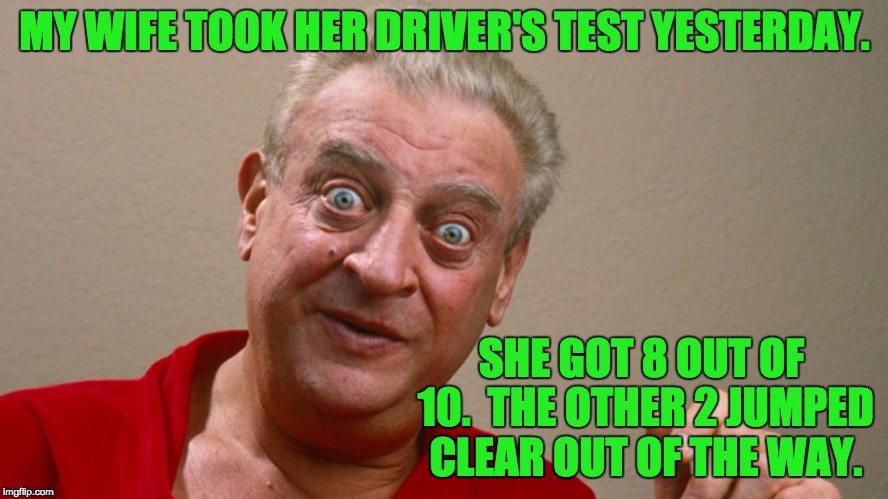 MY WIFE TOOK HER DRIVER'S TEST YESTERDAY. SHE GOT 8 OUT OF 10.  THE OTHER 2 JUMPED CLEAR OUT OF THE WAY. | image tagged in rodney | made w/ Imgflip meme maker