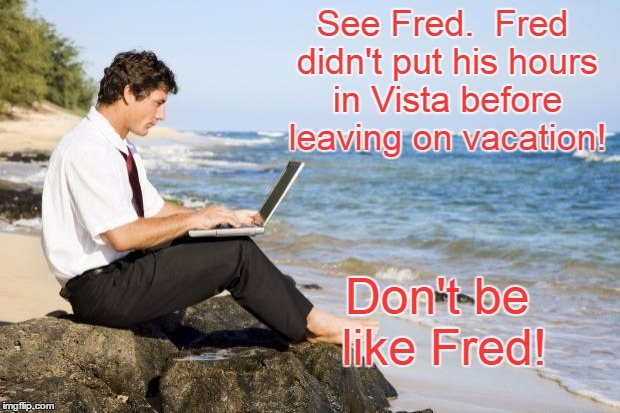 See Fred.  Fred didn't put his hours in Vista before leaving on vacation! Don't be like Fred! | image tagged in laptop beach | made w/ Imgflip meme maker