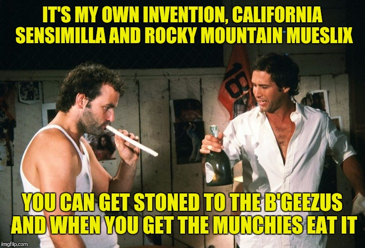 IT'S MY OWN INVENTION, CALIFORNIA SENSIMILLA AND ROCKY MOUNTAIN MUESLIX YOU CAN GET STONED TO THE B'GEEZUS AND WHEN YOU GET THE MUNCHIES EAT | made w/ Imgflip meme maker