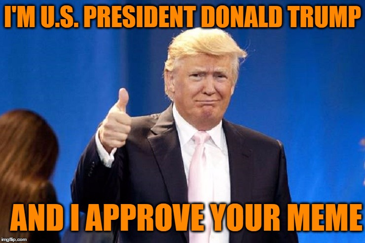 I'M U.S. PRESIDENT DONALD TRUMP AND I APPROVE YOUR MEME | made w/ Imgflip meme maker