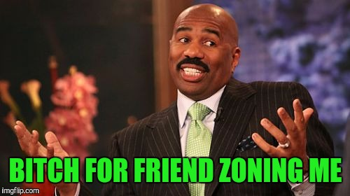 Steve Harvey Meme | B**CH FOR FRIEND ZONING ME | image tagged in memes,steve harvey | made w/ Imgflip meme maker